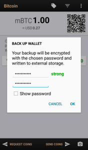 Use a password to protect your wallet back-up.